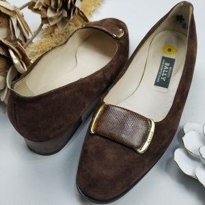 💝🌷 Bally - Luxury Brand - Brown Suede Heel 8m